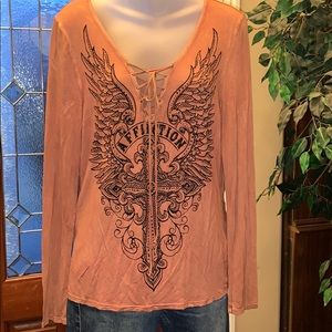 AFFLICTION lace tie cross graphic top